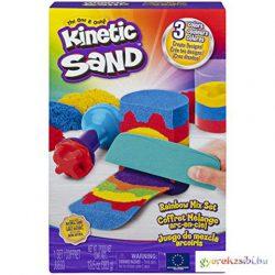 Kinetic Sand szivárvány színű homokgyurma kiegészítőkkel 383g - Spin Master